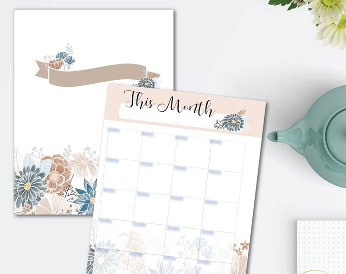 Featured listing image: Natural Blooms Printable Planner Set - monthly/weekly/hourly - 8.5 x 11 Instant Download