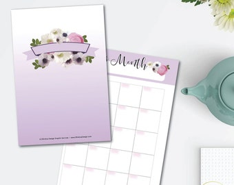 Purple Blooms Printable Planner Set - monthly/weekly/hourly - 8.5 x 11 Instant Download