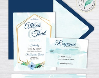 Allison Sea -BUNDLE- Beach Wedding Invitation Template - Easy DIY Editable Invite - Watercolor seashells - Printable Invitation and RSVP