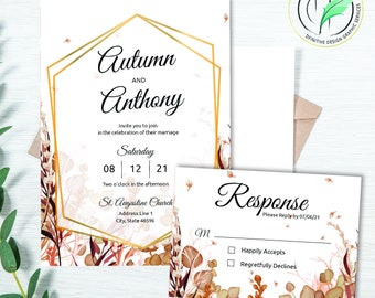 AUTUMN - Wedding Invitation Template - Easy DIY Editable Invite - Fall Colored Botanical - Printable Invitation and RSVP