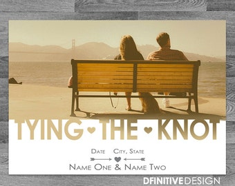 """Photo Wedding Save The Date """"Tie/tying The Knot"""" Announcement - with envelope or postcard back"""