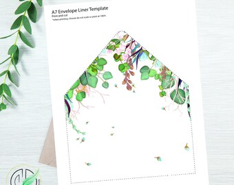SUMMER - Envelope Liner Template - Easy DIY Envelope Liner - Summer Colored Botanical - Printable