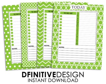 Daily Planner Sheets - Green