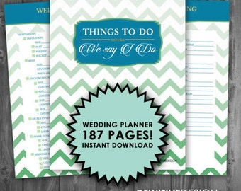 The Ultimate 187 Page Wedding Planner - Mint and Blue - Instant Download