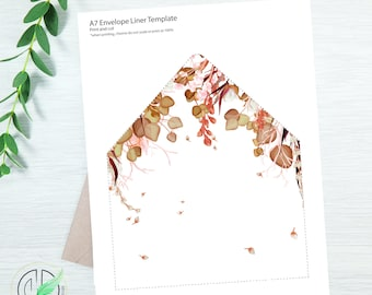 AUTUMN - Envelope Liner Template - Easy DIY Envelope Liner - Fall Colored Botanical - Printable