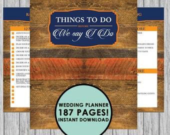 The Ultimate 187 Page Wedding Planner - Rustic Wood orange/navy blue - Instant Download