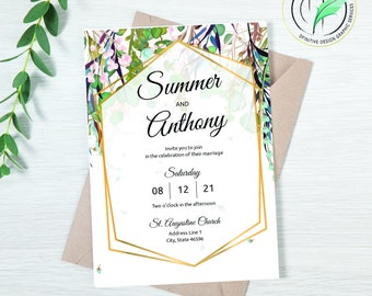 SUMMER - Wedding Invitation Template - Easy DIY Editable Invite - Summer Colored Botanical - Printable Invitation and RSVP