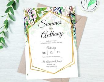 SUMMER - Wedding Invitation Template - Easy DIY Editable Invite - Summer Colored Botanical - Printable Invitation and RSVP