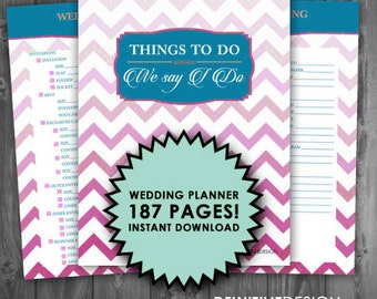 The Ultimate 187 Page Wedding Planner - PInk and Blue - Instant Download