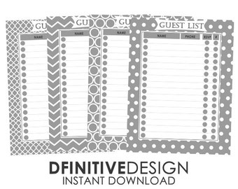 Gray Guest List Planner Sheets - Instant Download - Contains Name, Phone, number attending, and rsvp Sections