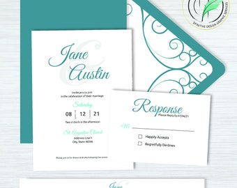 Jane -BUNDLE- Elegant Script Wedding Invitation Template - Easy DIY Editable Invite - Customize Your Colors - Printable Invitation and RSVP