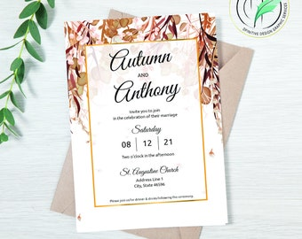 AUTUMN 2 - Wedding Invitation Template - Easy DIY Editable Invite - Fall Colored Botanical - Printable Invitation and RSVP