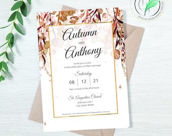 AUTUMN 2 - Wedding Invitation Template - Easy DIY Editable Invite - Fall Colored Botanical - Printable Invitation and RSVP