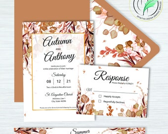 Autumn 2 -BUNDLE- Fall Watercolor Wedding Invitation Template - Easy DIY Editable Invite - Printable Invitation, RSVP, band, envelope liner