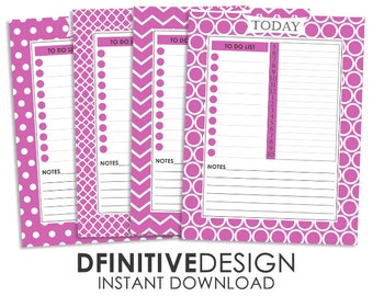 Pink Daily Planner Sheets - Instant Download - Contains To Do List, Schedule, and Notes Section