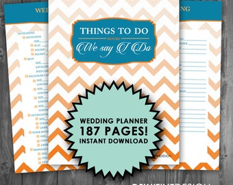 The Ultimate 187 Page Wedding Planner - Orange and Blue - Instant Download