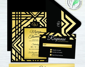 Art Deco -BUNDLE- Wedding Invitation Template