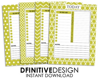 Yellow Daily Planner Sheets - Instant Download - Contains To Do List, Schedule, and Notes Section