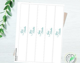 Jane - Elegant Script Belly Band Template - Easy DIY Invitation Band - Simple, Elegant Cursive - Printable
