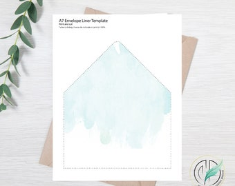 Allison - Envelope Liner Template - Easy DIY Envelope Liner - Blue Watercolor - Printable