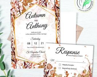 AUTUMN 3 - Wedding Invitation Template - Easy DIY Editable Invite - Fall Colored Botanical - Printable Invitation and RSVP