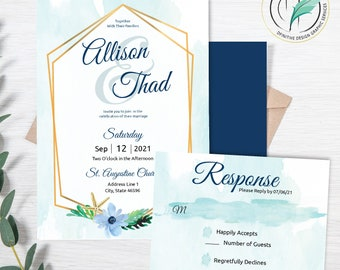 Allison Sea -Beach Wedding Invitation Template - Easy DIY Editable Invite - Watercolor seashells - Printable Invitation and RSVP