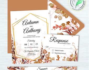 Autumn -BUNDLE- Fall Watercolor Wedding Invitation Template - Easy DIY Editable Invite - Printable Invitation, RSVP, band, envelope liner