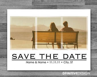 Triple Photograph Save The Date Announcement - Custom Photo (includes envelope or postcard back)