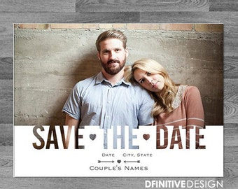 Modern Save The Date Announcement Custom Photo (includes envelope or postcard back)