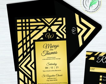 Art Deco - Wedding Invitation Template