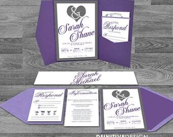 Ampersand/Heart Die Cut Wedding Invitation - purple/lavender/ grey/gray/custom colors - pocket or flat