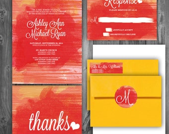 Watercolor Reverse pink/yellow/orange/red/white Wedding Invitation