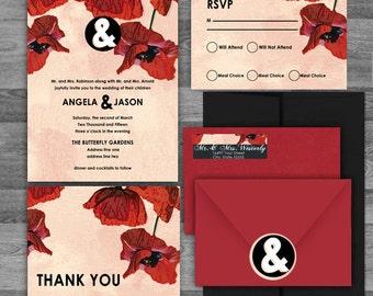 Watercolor Poppy Black/White/Red Floral Wedding flat/pocket Invitation