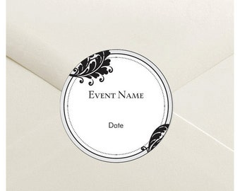 Floral Envelope Seal Stickers - 1.5 inch Round Customizable Printed Stickers