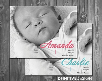 Baby Photo/Name Birth Announcement - printed or Digital