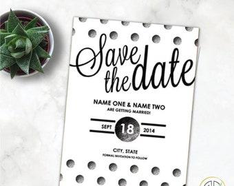 Modern Polka-Dot Script black/white Save The Date with envelopes