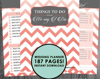 The Ultimate 187 Page Wedding Planner - Coral and Gray/Grey - Instant Download