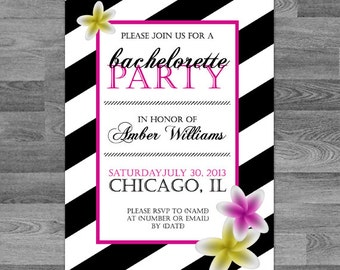 Custom Striped Floral Bachelorette Invite // birthday // party // engagement // wedding // any occasion