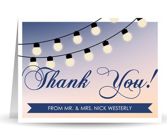 Rustic Sunset Lights Wedding Thank You Card - 5.5 x 4 inch Customizable Printed Thank You Cards with Envelopes