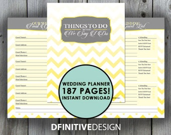 The Ultimate 187 Page Wedding Planner - Lemon Yellow and Gray/Grey - Instant Download