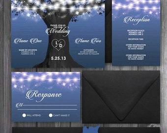 Sunset Tree Of Lights Fall Blue/Navy/gray/black Wedding Invitation