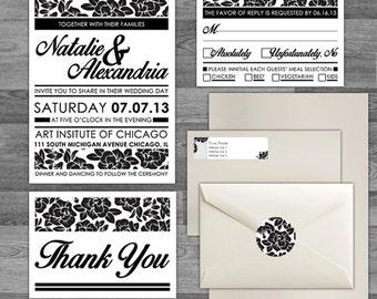 Modern Rose Floral black/white Wedding Invitation