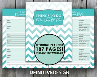 The Ultimate 187 Page Wedding Planner - Teal Blue and Gray/Grey - Instant Download