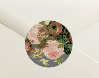 Rustic Floral Envelope Seal Stickers - 1.5 inch Round Customizable Printed Stickers