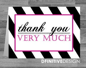 Thank You Card - Striped with Pink Accents - 5.5 x 4 inch Customizable Printed Thank You Cards with White Envelopes