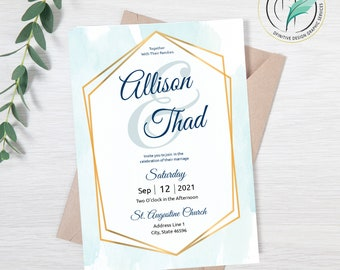 Allison Simple - Wedding Invitation Template- Blue Watercolor - Invitation and RSVP