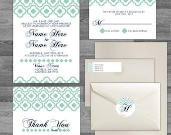 Modern Geometric Pattern Elegant Wedding flat/pocket Invitation