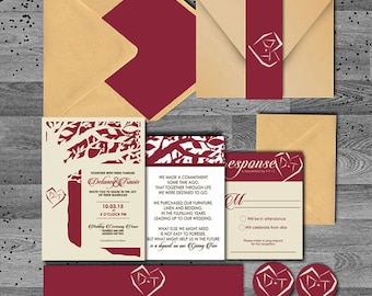 Fall in Love Printed Tree Cream/Red/Gold Wedding Invitation - Flat or Pocket