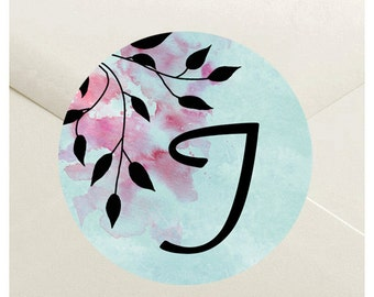 Rustic Watercolor Tree Envelope Seal Stickers - 1.5 inch Round Customizable Printed Stickers