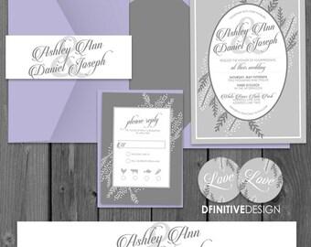 Grayson Collection Framed Floral Wedding Invitation Set - Printed or Digital - Pocket or Flat